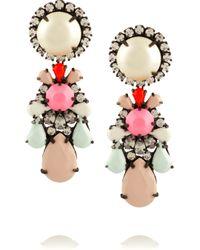 Shourouk | Pink Gunmetal Tone Painted Crystal Earrings | Lyst