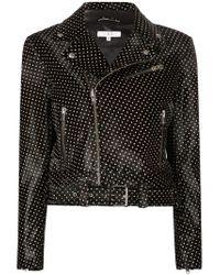 IRO | Black Polka-Dot Lambskin Biker Jacket | Lyst