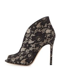 Gianvito Rossi Black Lace V-Neck Peep-Toe Bootie