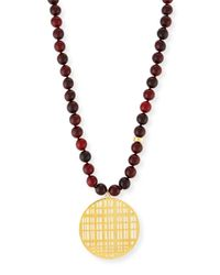 Nest - Metallic Red Horn Bead Necklace With Pendant - Lyst