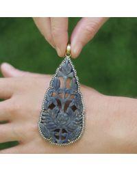 Sylva & Cie - Metallic Carved Sapphire Pendant - Lyst