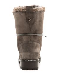 Stuart Weitzman Gray Bobsled Faux Fur Suede Hiking Boots - Fog