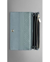 Burberry | Gray Patent London Leather Continental Wallet | Lyst