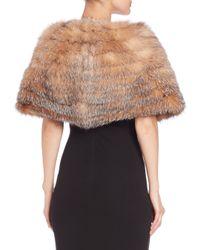 Saks Fifth Avenue - Brown Shirred Fox Fur Cape - Lyst