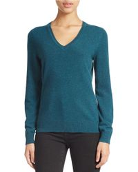 Lord & Taylor Blue Plus Cashmere V-neck Sweater