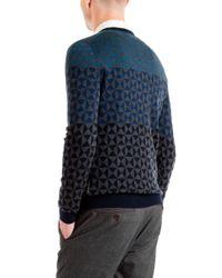 Ted Baker Blue Zano Ombre Pattern Wool Jumper for men