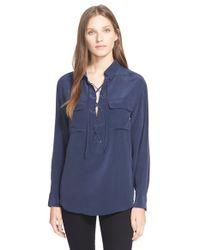 Equipment Blue 'Knox' Silk Shirt