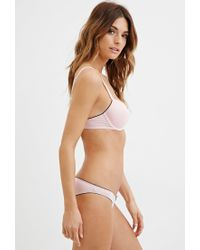 Forever 21 - Pink Lace-trimmed Microfiber Bra - Lyst