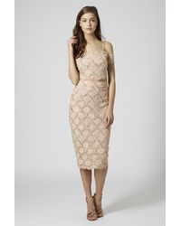 TOPSHOP Pink Limited Edition Lace Pencil Skirt