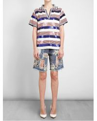 Ashish - Blue Sequin Embellished Polo Top - Lyst