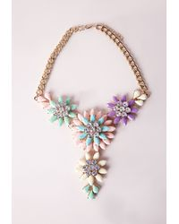 Missguided | Multicolor Floral Statement Necklace Multi | Lyst