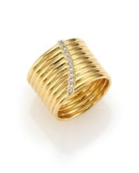 Elizabeth and James | Metallic Vago White Topaz Cigar Band Ring | Lyst