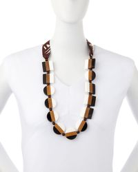 Tory Burch - Black Colorblock Beaded Tie Necklace - Lyst