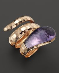 Roberto Coin | Metallic 18k Rose Gold Amethyst Snake Ring | Lyst