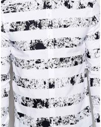 ASOS - White Shirt In Long Sleeves With Printed Stripes for Men - Lyst