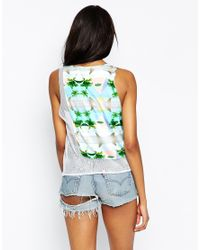 This Is A Love Song | Multicolor Angie Pyramid Palm Print Sleeveless Top With Mesh Back | Lyst