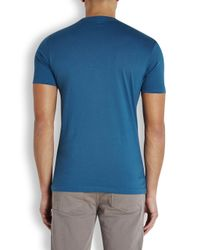 Paul Smith Blue Teal Skateboard-Print Cotton T-Shirt for men