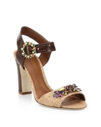 Dolce & Gabbana Brown Bejeweled Leather And Raffia Sandals