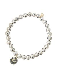 Sydney Evan | Metallic 6Mm Faceted Silver Pyrite Beaded Bracelet With 14K Gold/Rhodium Diamond Small Evil Eye Charm (Made To Order) | Lyst