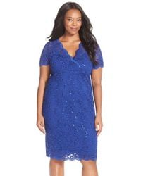 Marina - Blue Sequin Stretch Lace Cocktail Dress - Lyst