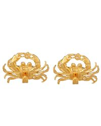 Alex Monroe Metallic Gold-plated Diamond Crab Earrings