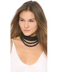 Fallon - Black Layered Swarovski Bead Choker - Lyst