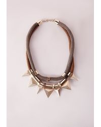 Missguided | Metallic Cord Statement Necklace Gold | Lyst