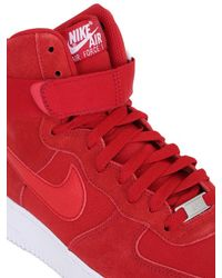 Nike Red Air Force 1 Suede High Top Sneakers for men