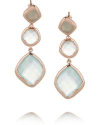 Monica Vinader Blue Riva Rose Goldplated Chalcedony Earrings