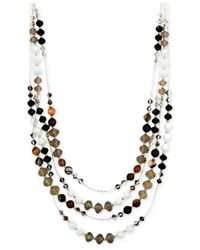 Jones New York | Black Silver-tone Neutral Bead And Brown Agate Multi-row Necklace | Lyst