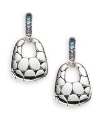 John Hardy | Metallic Kali Swiss Blue Topaz, Iolite & Sterling Silver Lava Earrings | Lyst