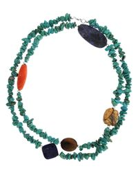 Lord & Taylor | Blue Multi-Gemstone Two-Row Necklace | Lyst