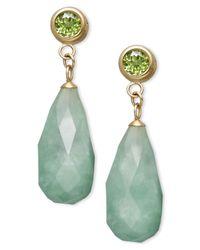 Macy's Green 14k Gold Earrings, Jade (8-18mm) And Peridot (1 Ct. T.w.) Drop Earrings