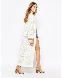 Glamorous   Natural Pointelle Maxi Cardigan With Kimono Sleeve   Lyst