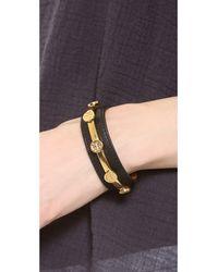 Tory Burch Metallic Leather Logo Cuff Bracelet