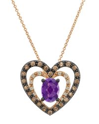 Le Vian | Pink 14k Rose Gold And Amethyst Heart Pendant Necklace With Diamonds | Lyst
