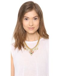 Elizabeth Cole - Metallic Short Crystal Bib Necklace - Lyst