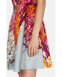 Karen Millen Multicolor Oriental Floral Print Fit And Flare Dress