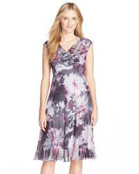 Komarov Purple Print Chiffon & Charmeuse Dress