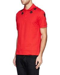 Givenchy - Red Star Embroidery Polo Shirt for Men - Lyst