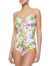 Shoshanna   Multicolor Twisted Floral-print One-piece Swimsuit   Lyst
