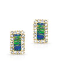 Anne Sisteron | Blue 14kt Yellow Gold Opal Diamond Bar Stud Earrings | Lyst