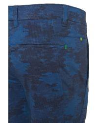BOSS Green Blue 'leeman Print-w' | Slim Fit, Stretch Cotton Blend Pants for men