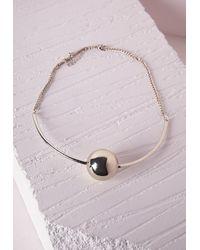 Missguided | Metallic Ball Detail Choker Gold | Lyst