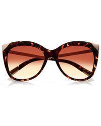 River Island - Orange Brown Tortoiseshell Cat Eye Sunglasses - Lyst