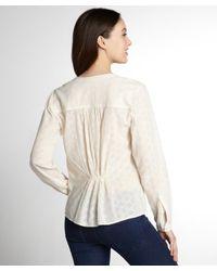 Love Sam - Natural Ivory Cotton Patterned V-Neck Blouse - Lyst