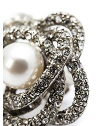 Oscar de la Renta - White Pearl Button Clip Earrings - Lyst