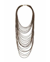 TOPSHOP - Brown Bead Multirow Necklace - Lyst