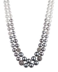 Anne Klein | Metallic Two-row Ombre Faux Pearl Necklace | Lyst