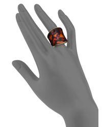 Michael Kors Metallic Tortoise-Print Shield Ring